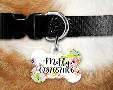 Personalised Pet Tag - ID Tag - Dog Tag - Bone Tag - Watercolour Flowers