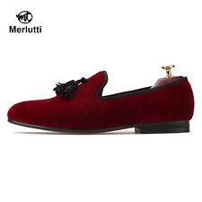Merlutti Handmade Red Velvet With Black Tassel Slippers Men's Flat