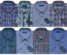 Mens Short Sleeve Summer Yarn Dyed Poly Cotton Check Shirt M - 4XL By Tom Hagan