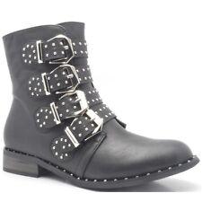 Hunter Bottes Flats Low Talons Bottines Cloutées Femme Ruban Motard Chaussures Taille