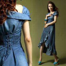 Women's Sz S-xl Long Denim Slim Fit Short Sleeve Dovetail Skirt Belt Dress