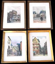 FOUR ORIGINAL FRAMED FRENCH VIEWS~VANNES&DINAY&MORLAIX&P-?~V CARRÉ~PENCIL SIGNED