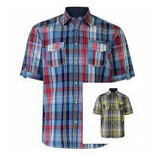 Uomo Grande Taglie forti manica corta quadri cotone estate camicia XXL to 6XL