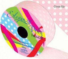 Light Pink Polka Dot Printed Florist Poly Ribbon  - wedding cars,bows,presents