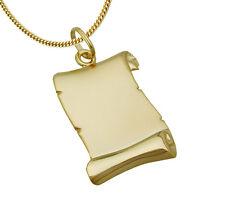 ECHT GOLD *** Anhänger Gravurplatte Schriftrolle Dokumentenrolle Kette vergoldet