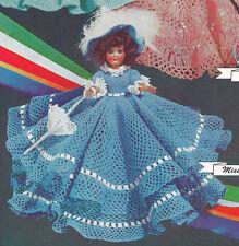 "Vintage Crochet PATTERN 8"" Doll Clothes Dress Hat Umbrella Petticoat Panties"
