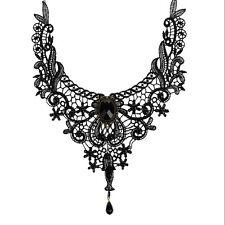 Vintage Black Lace Choker Bib Necklace Women Ladies Steampunk Retro Gothic Party