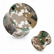 Ear Plug Acrylique Camo Camouflage Pixelated Brown