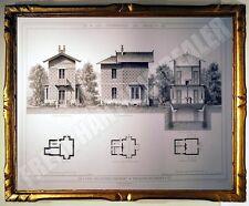 SUPERBE GRAVURE PAVILLON GARDES du PARC BUTTES CHAUMONT PROMENADES DE PARIS 1882