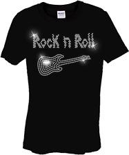 infantil ROCK AND ROLL guitarra diseño camiseta de pedrería (Cualquier Talla)