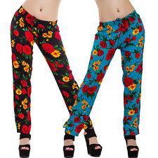 Pantaloni donna floreali fiori elastico laccio estivi freschi leggeri cotone 30B