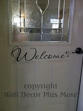 Welcome w/ swoop Wall Vinyl Sticker Saying Decal Front Door Entryway Room 22x6