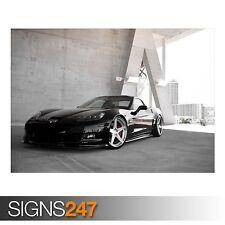 BLACK CHEVROLET CORVETTE Z06 (AA700) CAR POSTER - Poster Print Art A0 A1 A2 A3
