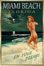 Miami Beach Florida New Original Retro Travel Poster Marilyn PinUp Art Print 169