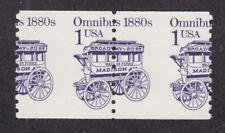 US Sc 2225 MNH. 1986 1c violet Omnibus, Misperf Coil Pair, VF