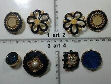 1 lotto bottoni gioiello stras smalti perle blu  buttons boutons vintage g10