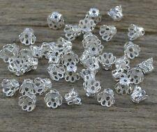 20/50/100 St. Kleine Filigrane Perlenkappen Ø 5x6 mm Silberfarben Endkappen