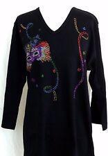 PLUS 1X Hand Embellished Mardi Gras Cat Mask & Streamers Long Top Shirt