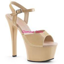 Sexy SANDALI tacco 15 CREMA plateau scarpe pole dance CLUB dal 35 al 44 glamour