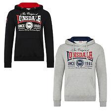 Lonsdale WELLS Hooded Sweatshirt Hoodie Black or Grey Lined Hood Regular-Fit