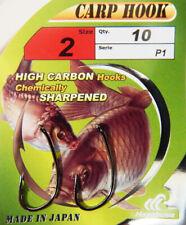 HAYABUSA P-1 pêche à la carpe Crochets annelé tailles 2,4, 6. 10 Hooks