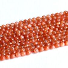 AAA High Quality Natural Orange Gold Oligoclase Sanidine Sunstone Round Beads