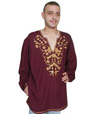 wunderschöne Moderne orientalische Herren Tunika mit stickerei weinrot  KAM00627