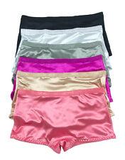 Larger Size LOT 1 6 12 Plain Smooth Boxer Low Rise Boyshorts  SATIN Panty S-XL