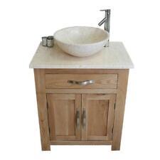 Bathroom Vanity Unit Oak Modern Cabinet Wash Stand Cream Marble Top & Basin 502