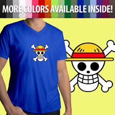One Piece Monkey D. Luffy Jolly Roger Straw Hat Skull Mens Tee V-Neck T-Shirt