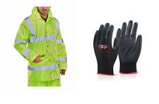 Warnschutzregenjacke S-6XL Regenjacke Warnschutzjacke Warnjacke + Handschuhe BEE