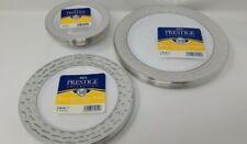Euro Prestige Round White Silver Rim Plates Bowls Disposable Party Picnic BBQ