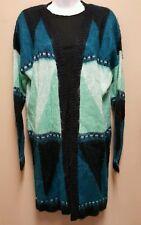 NWT Rue 21 XS MEDIUM oversized open soft sweater aqua blue teal striped tunic