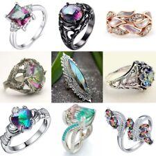 Vintage Mystic Rainbow Topaz 925 Silver Ring Women Wedding BridalJewelry Sz 5-11