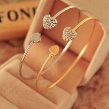 New fashion Women Style Gold Rhinestone Love Heart Bangle Cuff Bracelet Jewelry