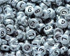 * 100pcs 7mm Flat Round Argento Acrilico numero Perline: miscuglio, numero unico 0-9