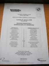 08/01/2008 Reading Reserves v Birmingham City Reserves  (Single Sheet). No obvio
