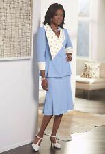 Ashro Wendi Skirt Suit Blue White Beaded Formal Dress Sz 6 8 10 20W PLUS