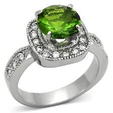 1227 PERIDOT GREEN SIMULATED DIAMOND RING NEVER TARNISH STAINLESS STEEL ELEGANT