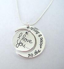 I Love You To The Moon E Indietro CIONDOLO messaggio con catena serpente collana 3 dimensioni
