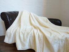 KUSCHELDECKE Tagesdecke Decke GLANZ-DESIGN elfenbein / weiss 160x200cm