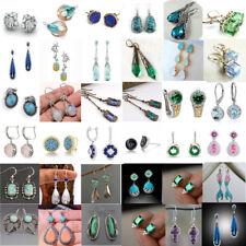 Women 925 Sterling Silver Ear Studs Dangle Hoop Drop Earrings Gemstone Jewelry