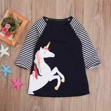 NEW Girls Unicorn Navy Blue Long Sleeve Tunic Dress 3T 4T 5T 6 7 8