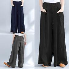 ZANZEA Women Wide Legs Cotton Ethnic LONG PANTS Casual Harem Pants Trousers Plus