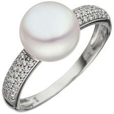 Ring Damenring mit Süßwasser Perle & Zirkonia 333 Gold Weißgold Perlenring Damen