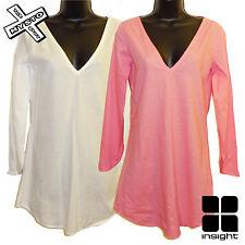 "INSIGHT ""KARMA Kaftan"" Beach Abito Lungo Camicia Bianco Rosa UK 8 10 BNWT RRP £ 43"