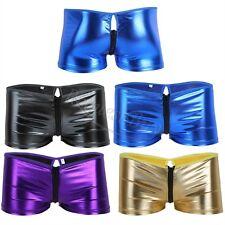 Mens Patent Leather Zipper Underwear Boxer Briefs Wetlook Shorts Swimwear Trunk