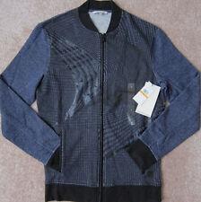CALVIN KLEIN ( Blue Cap Heather ) Warp Check Light Bomber Jacket Men's NWT $98
