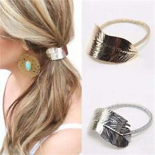 2Pcs Fashion Women Girl Leaf Hair Band Rope Tie Elastic Headband Ponytail Holder