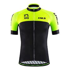 CHEJI Cycling Shirt Men's Short Sleeve Bike Cycle Jersey Tops Green Reflective